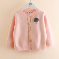 Lovely Solid Cloud Decor Knitted Cardigan for Toddler Girl and Girl