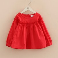 Stylish Solid Ruffled Long-sleeve T-shirt for Toddler Girl and Girl