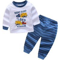 Comfy Car Print Long-sleeve Top and Striped Pants Set for Boy