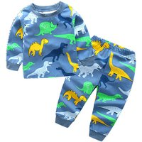2-piece Casual Dinosaur Patterned Long-sleeve Top and Pants Set for Boy