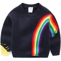 Stylish Rainbow Applique Knitted Sweater for Toddler Boy and Boy