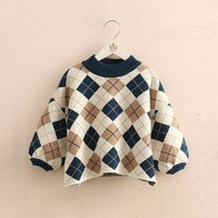 Fashionable Plaid Knitted Sweater for Toddler Girl and Girl