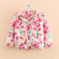Pretty Floral Hooded Long-sleeve Coat for Toddler Girl and Girl