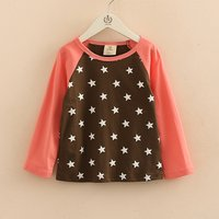 Casual Color Blocked Star Print Long-sleeve Top for Toddler Girl  and Girl