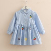 Fashionable Striped Fruit Print Long-sleeve Dress