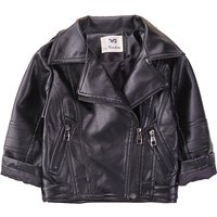 Cool Solid Faux Leather Long-sleeve Black Coat for Baby Boy