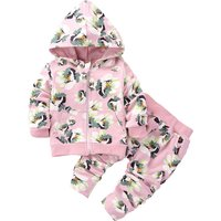 2-piece Sweet Floral Print Hooded Coat and Pants for Baby Girl