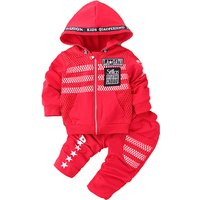2-piece Appliqued Letter Sporty Hooded Top and Pants for Baby Boy
