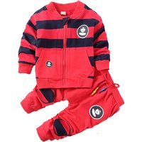 2-piece Color Block Stripes Top and Drawstring Pants for Baby