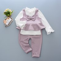 3-piece Flare-sleeve Top Bowknot Vest and Pants Set for Baby Girl