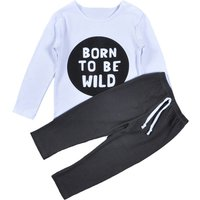 2-piece Cool Letter Print Long-sleeve Shirt and Pants for Baby Boy