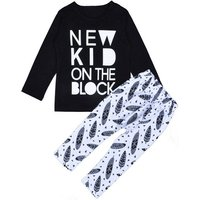 2-piece Cool Letter Print Long-sleeve Shirt and Feather Print Pants for Baby Boy