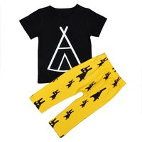 2-piece Geo Print Black T-shirt and Rabbit Print Pants for Baby Boy