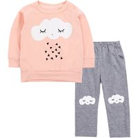 2-piece Cloud and Triangle Print Top and Leggings Set for Baby Girl
