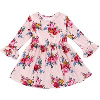 Beautiful Floral Long-sleeve Ruffled Cuffs Dress for Babies and Toddlers