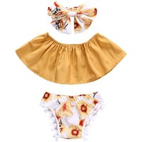 3-piece Tube Crop Top Floral Pantie and Headband Set for Baby Girl