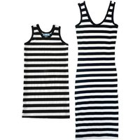 Mommy and Me Pretty Classic Black Stripes Sleeveless Dress