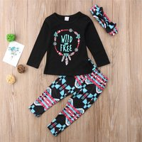 3-piece Stylish Letter Print Long-sleeve Top, Floral Pants and Headband Set