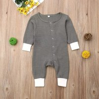 Casual Splice Round-collar Long-sleeve Jumpsuit for Baby