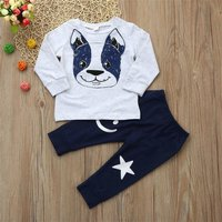 2-piece Casual Dog Print Long-sleeve Top and Pants Set for Baby
