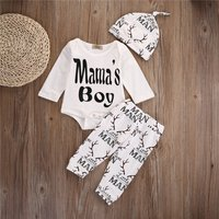 """Pretty """"MAMA'S BOY"""" Elk Print Long-sleeve Top, Pants and Hat for Baby"""