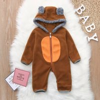 Warm Polar Fleece Animal Design Hooded Jumpsuit for Baby