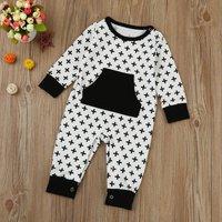 Trendy Allover Cross Splice Long-sleeve Jumpsuit for Baby
