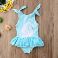 Cute Swan Pattern Tie-up Strap Swim One-piece
