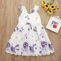 Pretty Flower Print Lace Design Flounced Sleeveless Dress
