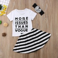 Trendy Letter Print Short-sleeve Top, Skirt and Headband for Baby and Toddler