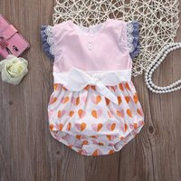 Pretty Heart Patterned Lace and Bow Decor Flutter-sleeve Bodysuit