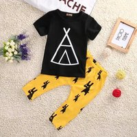 Trendy Triangle House Print Tee and Allover Cartoon Deer Pants Set
