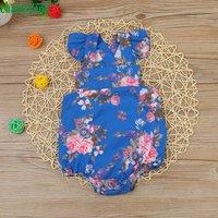 Cute Floral Print Crisscross Flutter-sleeve Suspender Bodysuit