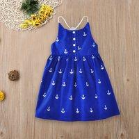 Toddler / Girl Anchor Pattern Backless Dress