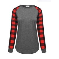 Chic Plaid Round Collar Long Sleeves Top