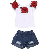 2-piece Beautiful Flower Embroidery Ruffled Top and Shorts Set for Babies and Toddlers
