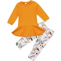 2-peice Sweet Ruffled Long-sleeve Top and Floral Pants for Girls