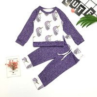 2-piece Sweet Unicorn Print Top and Pants in Purple for Baby Girl