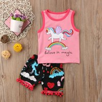 2-piece Unicorn Sleeveless Top and Tassel Shorts Set for Baby and Toddler Girl