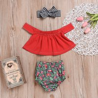 Lovely Off-shoulder Top and Cherry Print Plaid Shorts Headband for Baby Girl