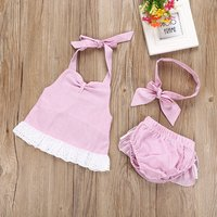 Baby Girl's 2-piece Striped Tankini Set with Headband in Pink