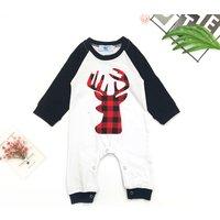 Baby Boy's Deer Print Round Collar Long-sleeve Jumpsuit