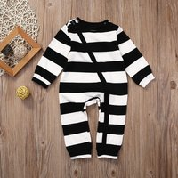 Classic Striped Long-sleeve Jumpsuit in Black for Baby Boy