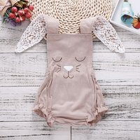 Super Cute Bunny Ears Backless Romper for Baby Girl