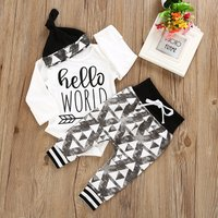 3-piece Trendy Letter Print Romper, Geo Patterned Pants and Hat Set for 0-6 Months Boy