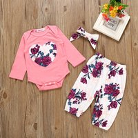 Fresh Heart Appliqued Long-sleeve Romper,Floral Pants and Headband Set for Baby Girl