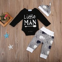 3-piece Comfy Letter Print Romper, Bear Patterned Pants and Hat Set for Baby Boy