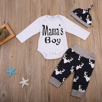 3-piece Stylish Letter Print Romper, Deer Patterned Pants and Hat Set for Baby Boy