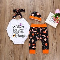 4-piece Stylish Letter Print Romper, Candy Patterned Pants, Hat and Headband Set for Baby Girl