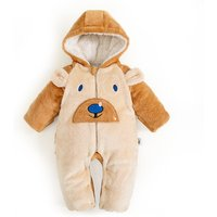 Adorable Bear Hooded Contrast Fleece Long Sleeve Jumpsuit for Baby